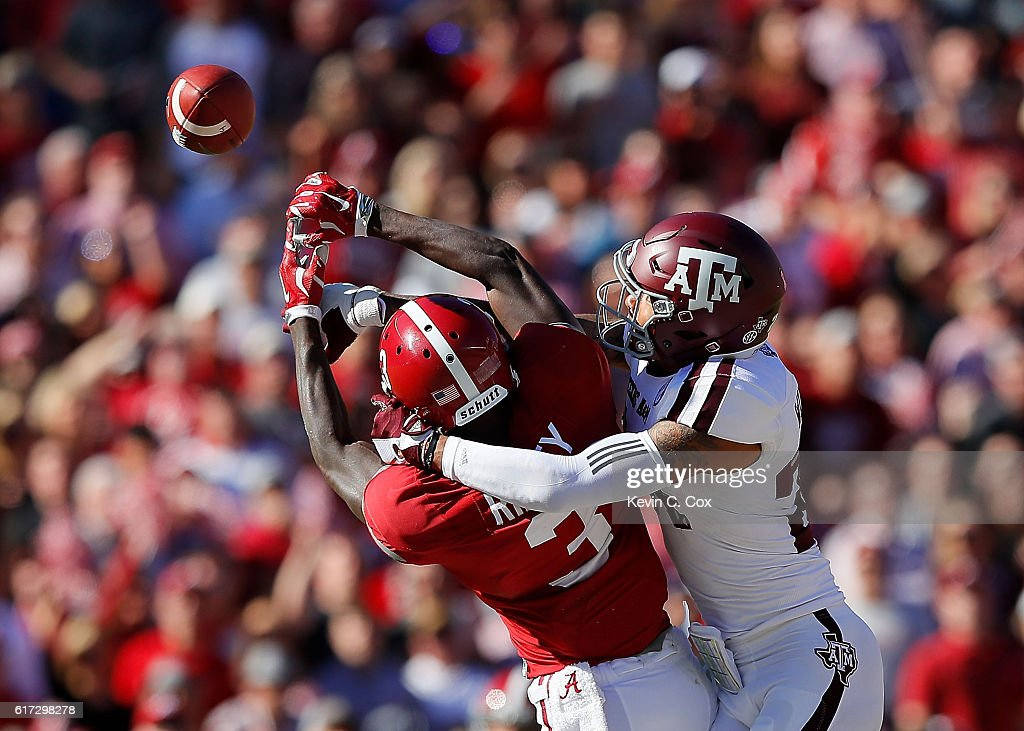 Priest Willis #24 of the Texas A&M Aggies is flagged for pass interference on this pass intended for Calvin Ridley #3 of the Alabama Crimson Tide at Bryant-Denny Stadium on October 22, 2016 in Tuscaloosa, Alabama.