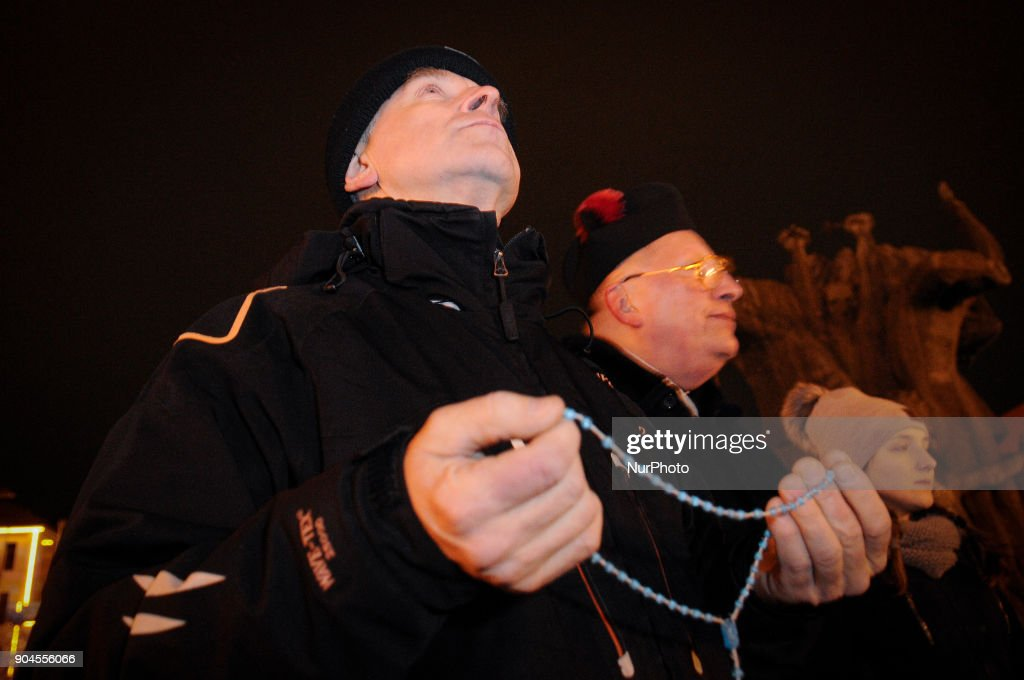 A priest with beads in his hands is seen at a rosary for the renewal of the moral of the Polish moral in Bydgoszcz, Poland on January 13, 2018. This week parliament voted for a proposal further restricting already very strict abortion laws.