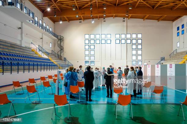 Priest with the Mayor of Terlizzi Ninni Gemmato, blesses the Vaccines Center, doctors and nurses before starting vaccinations, on the first day of...