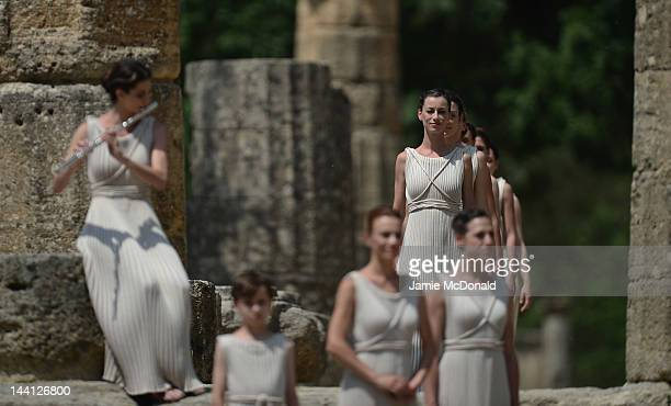 Priestesses perform at the Temple of Hera during the Lighting Ceremony of the Olympic Flame at Ancient Olympia on May 10 2012 in Olympia Greece