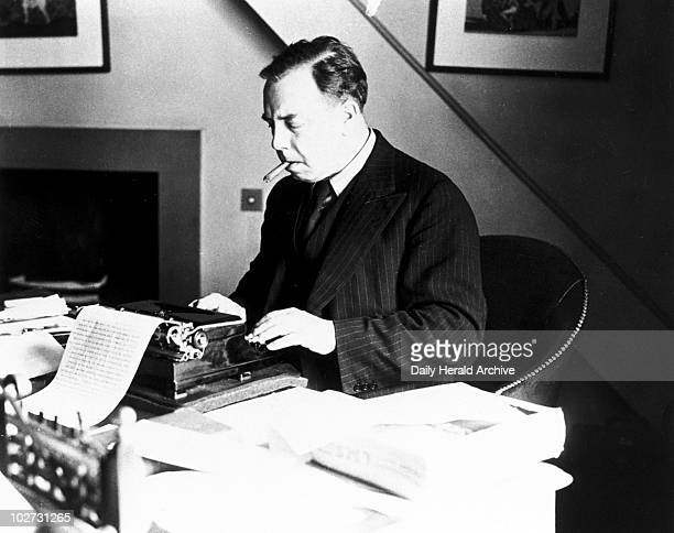 Priestley English writer and broadcaster 1940 John Boynton Priestley at work in his study at Highgate