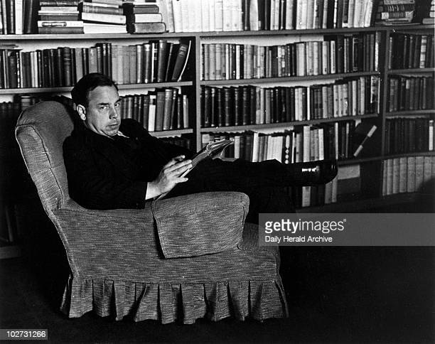 Priestley English writer and broadcaster 1940 John Boynton Priestley relaxing in his study at Highgate