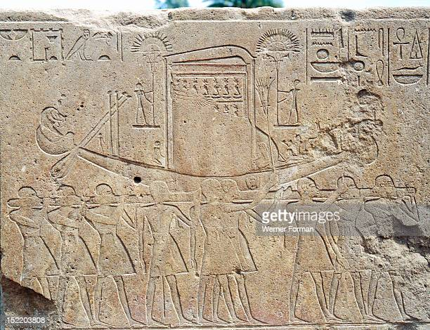 Priests carry the sacred boat with Amuns tabernacle Relief from the Red Chapel of Hatshepsut which was demolished by her successor Tuthmosis III...