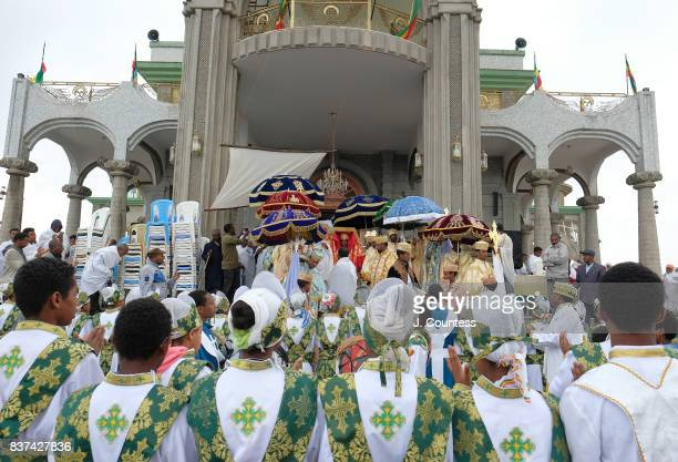 Priests carrying the Tabot a representation of the Ark of the Covenant depart the newly constructed Xabierab Church as they lead followers of the...