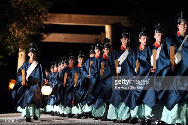 Priests participate in the 'Sengyo no Gi' at Ise Jingu Shrine on October 2, 2013 in Ise, Mie, Japan. Once in 20 years Ise Jingu move the object of...