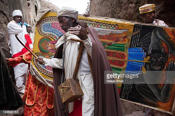 Priests returning to the Bet Mikael Church during a Timkat celebration in Lalibela on January 20 2011 in Lalibela Ethiopia
