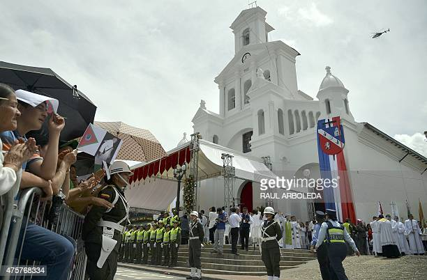 Priests victims of the armed conflict and faithful gather outside the Our Lady of the Asuncion church in the Marinilla municipality Antioquia...