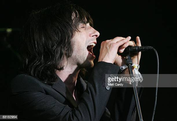 Primal Scream's Bobby Gillespie performs on the third and final day of the Glastonbury Music Festival 2005 at Worthy Farm Pilton on June 26 2005 in...