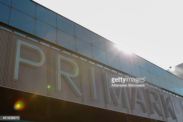 Primark signage is seen outside the new Primark store at Alexanderplatz on July 03 2014 in Berlin Germany The Irish fashion label has opened it's...