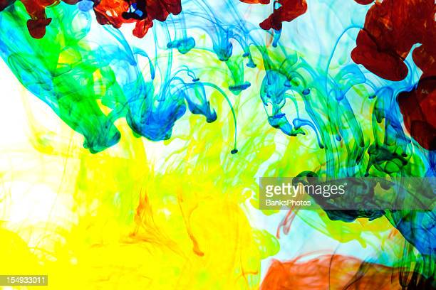 Primary Color Ink Sinking in Water