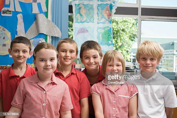 Primary school children in a row