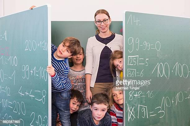 primary school class with teacher
