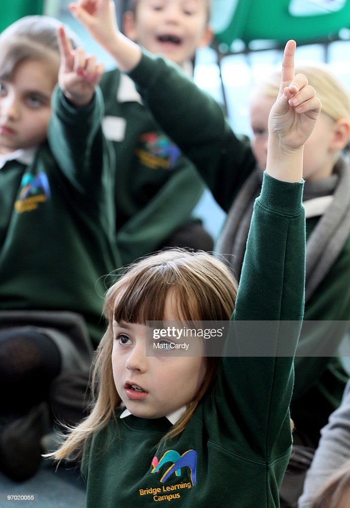Primary school pupils at the Bridge Learning Campus answer questions in a classroom at the school on February 24, 2010 in Bristol, England. The 40million GBP campus in Hartcliffe, Bristol, was constructed as part of the Government's Building Schools for the Future programme and opened in January 2009. It now offers over 800 pupils a life long provision of learning from nursery, reception and primary to secondary and post-16 education. As the UK gears up for one of the most hotly contested general elections in recent history it is expected that that the economy, immigration, the NHS and education are likely to form the basis of many of the debates.