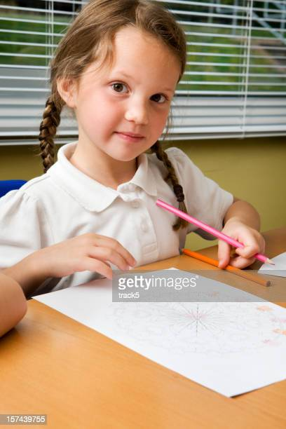 primary school: schoolgirl learning