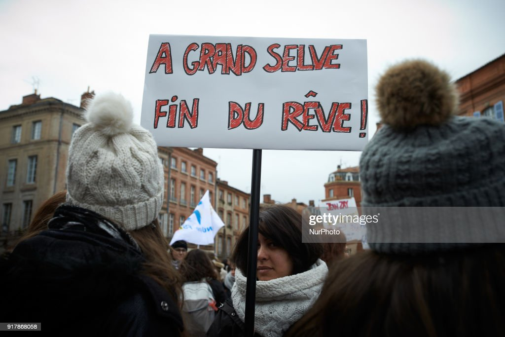 Primary school teachers gathered in front of the Prefecture in Toulouse, France on February 13th 2018. They protest against the lack of money, the classes with too many children and the new reform of Education Minister J.-M. Blanquer. A primary school teacher holds a placard reading 'Grand Selve : end of a dream'.