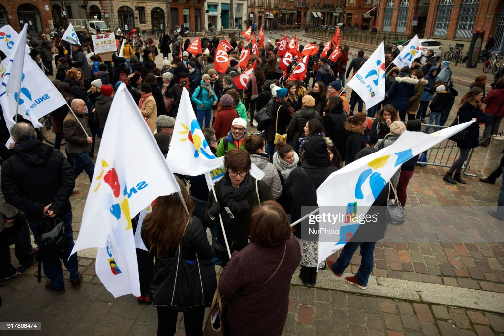 Primary school teachers gathered in front of the Prefecture in Toulouse, France on February 13th 2018. They protest against the lack of money, the classes with too many children and the new reform of Education Minister J.-M. Blanquer.