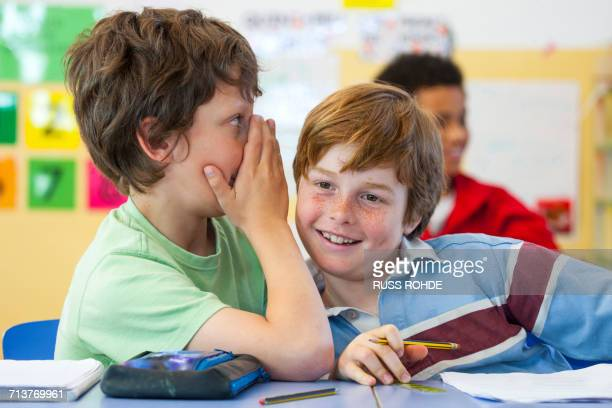 Primary schoolboys whispering in classroom