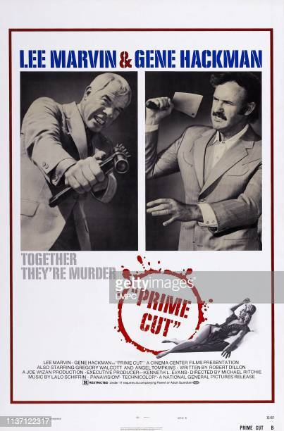 Prime Cut poster US poster art top from left Lee Marvin Gene Hackman lower right Angel Tompkins 1972