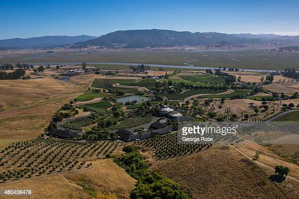 Prime farm and vineyard land sit at the edge of the San Francisco Bay as viewed from the air on June 22 near Petaluma California Growth has become a...