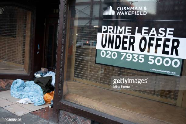 Prime lease under offer sign in Holborn with a doorway where a homeless person has their belongings on 21st January 2020 in London England United...