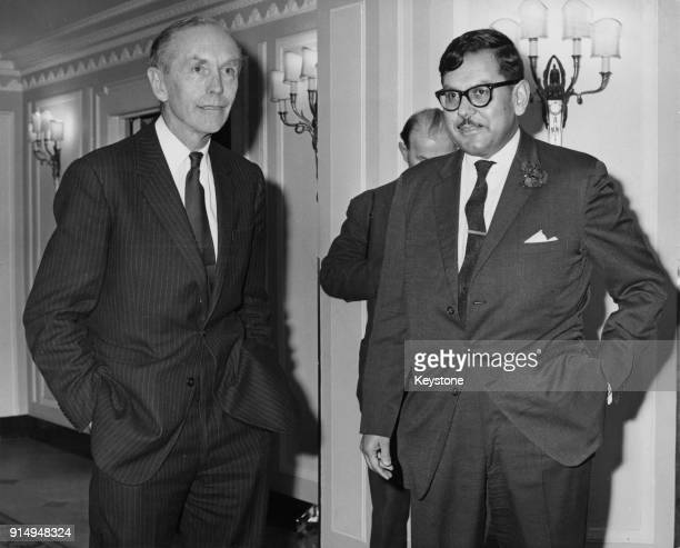 UK Prime Minister Alec DouglasHome with Nasim Ahmed President of the Foreign Press Association before an FPA luncheon at the Dorchester Hotel in...