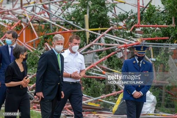 Prime Minister Alexander De Croo, Antwerp province governor Cathy Berx and King Philippe - Filip of Belgium pictured at the site of a collapsed...