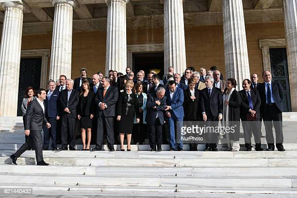 Prime Minister Alexis Tsipras arriving for a family photo with his Ministers after kick up meeting of the new cabinet in Athens on November 6 2016