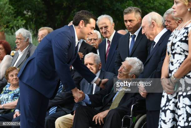 We welcome the greek peoples resistance stock photos and pictures prime minister alexis tsipras greeting members of the resistance against the military dictatorship of greece on m4hsunfo