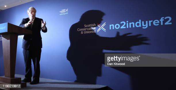 Prime Minister and Conservative Party leader, Boris Johnson, launches the Conservative Party Scottish Manifesto on November 26, 2019 in North...