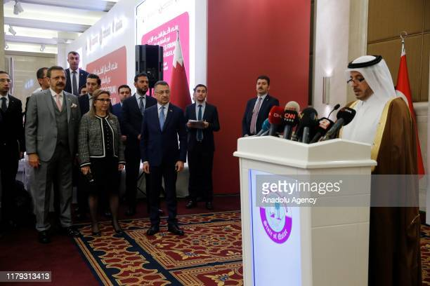 Prime Minister and Interior Minister of Qatar Sheikh Abdullah bin Nasser bin Khalifa Al Thani makes a speech during Qatar Turkey Business Forum in...