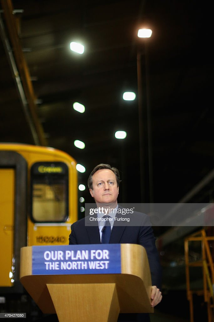 Prime Minister and leader of the Conservative Party, David Cameron addresses guests and supporters during a visit to Arriva Traincare on April 20, 2015 in Crewe, England. During the visit Cameron and Osborne spoke of their concerns and the impact of SNP policies on the whole of the United Kingdom.