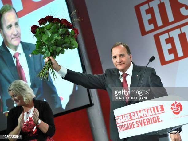 Prime minister and party leader of the Social democrat party Stefan Lofven addresses supporters at an election night party following general election...