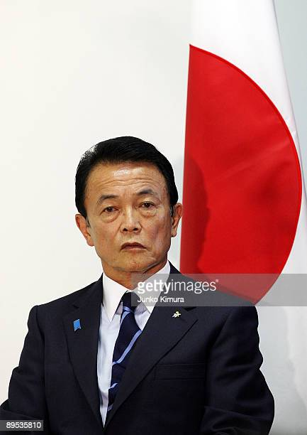 Prime Minister and President of Liberal Democratic Party Taro Aso speaks at the press conference at the LDP headquarters on July 31 2009 in Tokyo...