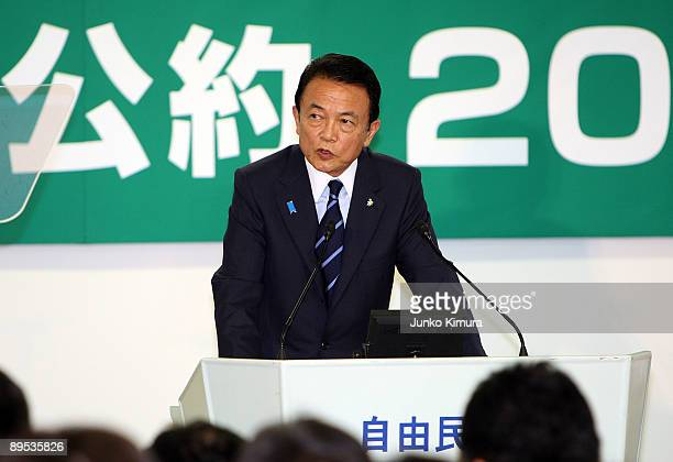 Prime Minister and President of Liberal Democratic Party Taro Aso speaks during the press conference at the LDP headquarters on July 31 2009 in Tokyo...