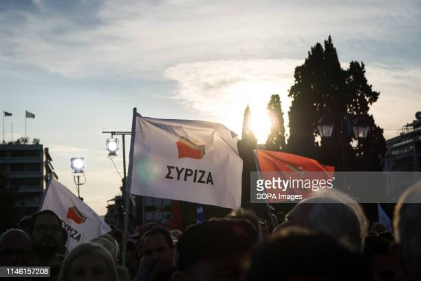 Prime Minister and President of Syriza Alexis Tsipras seen making a Preelection campaign speech in Athens Greece Greeks will vote on Sunday May 26...