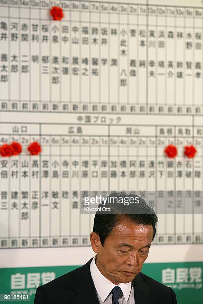 Prime Minister and President of the Liberal Democratic Party Taro Aso looks on in front of a board listing the candidates' names of the party during...