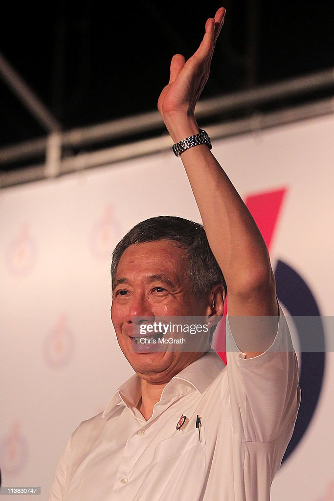 Prime Minister and the Secretary General of the People's Action Party (PAP), Lee Hsien Loong celebrates after winning his seat on May 7, 2011 in Singapore. 2.21 million voters are expected to visit polling stations across Singapore, in the countries 11th elections since independence. The 2011 general election has been the most contested in Singapore's history with 82 seats out of 87 being contested. In 2006 the People's Action Party (PAP) received 66.6 per cent of the vote.