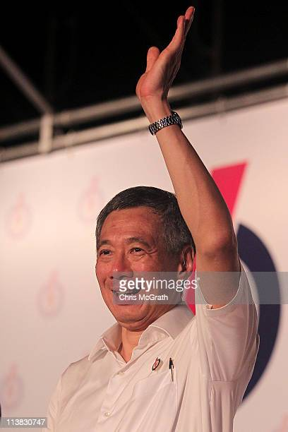 Prime Minister and the Secretary General of the People's Action Party Lee Hsien Loong celebrates after winning his seat on May 7 2011 in Singapore...