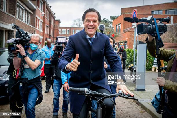 Prime Minister and VVD leader Mark Rutte is seen casting his vote at a polling station on March 17, 2021 in The Hague, Netherlands during the 2021...