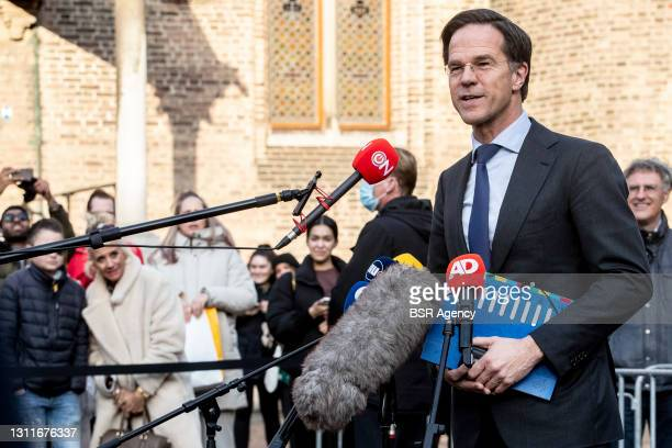 Prime minister and VVD leader Mark Rutte is seen talking to the press after his meeting with Formation Informateur Herman Tjeenk Willink on day two...