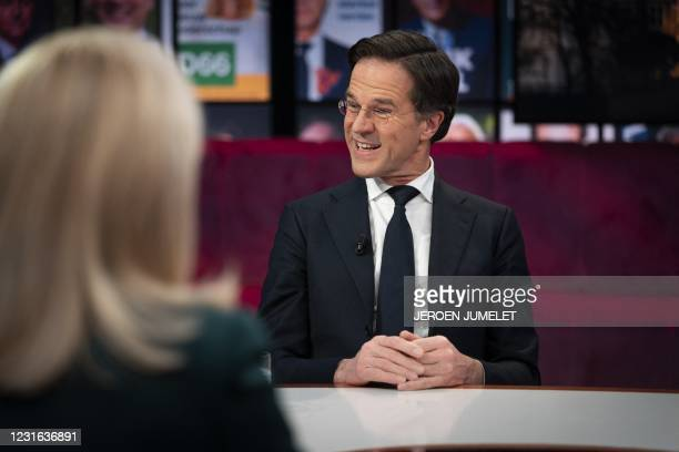 Prime Minister and VVD party leader Mark Rutte is seen during a broadcast interview on March 10, 2021 in Amsterdam. - Netherlands OUT / Netherlands...