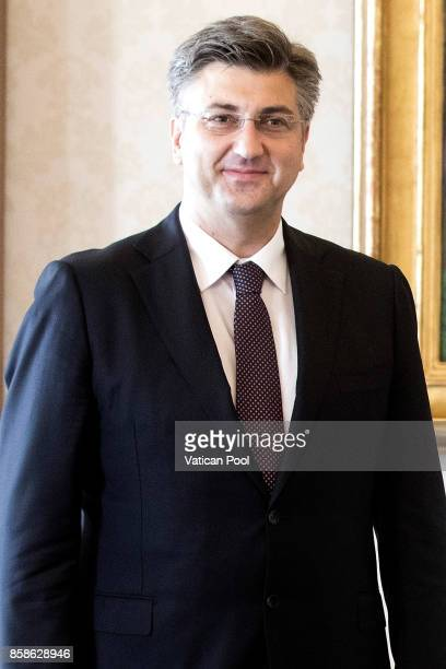 Prime Minister Andrej Plenkovic attends an audience with Pope Francis at the Apostolic Palace on October 7 2017 in Vatican City Vatican Pope Francis...