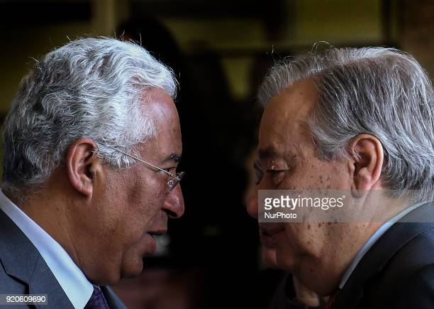 Prime Minister Antonio Costa greets The Secretary General of the United Nations Antonio Guterres during the ceremony of The Secretary General of the...