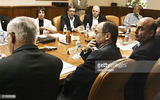 Prime Minister Ariel Sharon chairs the weekly cabinet meeting in his Jerusalem offices on October 24 2004 in Jerusalem Israel The cabinet is expected...