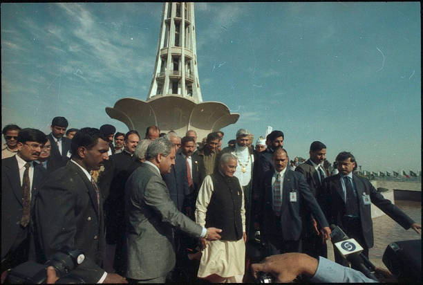 Prime Minister Atal Bihari Vajpayee at MinarePakistan during his visit to Pakistan on February 21 1999 in Lahore India Former prime minister Atal...