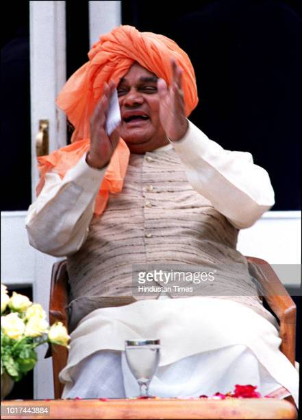 Prime Minister Atal Bihari Vajpayee during a 'Holi Millan function at his residence on March 19 in New Delhi India
