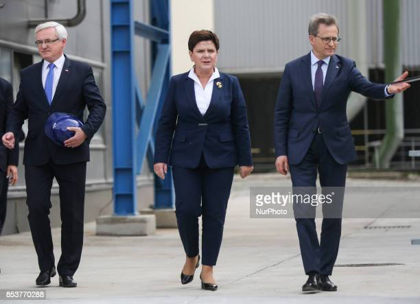 Prime Minister Beata Szydlo and Wojciech Wardacki President of Grupa Azoty Management Board during the opening ceremony of Polyamide Plant II in...