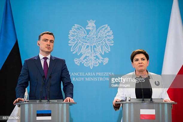 Prime minister Beata Szydlo meets prime minister of Estonia Taavi Rovias on June 1 2016 in Warsaw Poland The meeting was organized to discuss the...