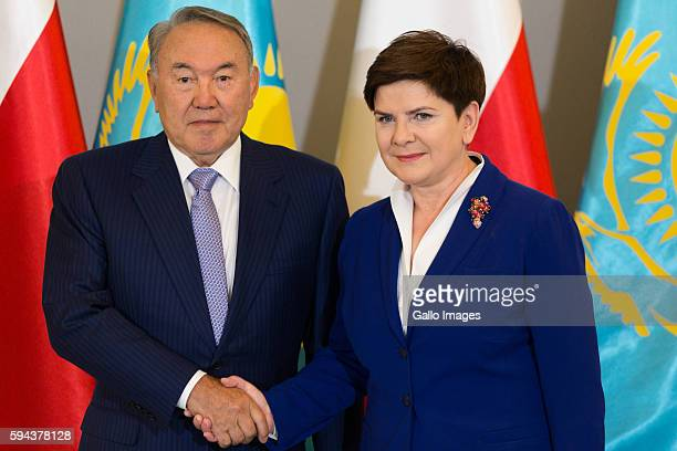 Prime Minister Beata Szydlo meets the President of Kazakhstan Nursultan Nazabayev on August 23 2016 in Warsaw Poland The visit of the President of...