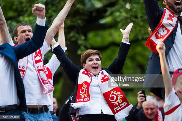 Prime Minister Beata Szydlo supports Polish football team during UEFA Euro 2016 group C match between Poland and Ukraine on June 21 2016 at the...